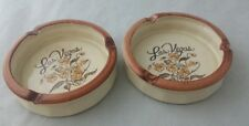 Vintage Handpainted Floral Las Vegas Ashtrays ~ Set Of 2 Made In Taiwan