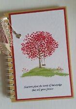 Teacher's Notebook Dairy journal handmade copertina rigida in bianco Regalo di Natale rosso A5