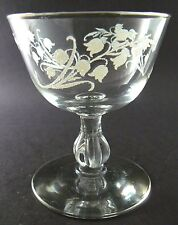 "Vintage Clear Glass Lily of the Valley Sherbet Desert Dish Glass Goblet 4"" Tall"