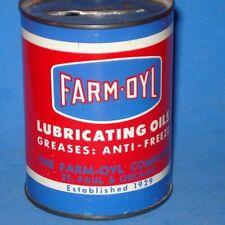 FARM OYL GAS OIL ADVERTISING COIN BANK TIN CAN sign farm tractor 1950's original