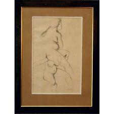 Original Signed Framed Pencil Sketch Nude Female Life Drawing Studio Study Sarah