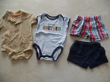 baby boys 4 PIECE LOT plaid shorts SNAP SHIRTS little brother outfit 0-3 MONTHS