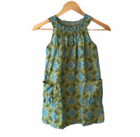 TEA COLLECTION Green Blue Floral Print Sleeveless Dress Comfy Sun Sz 7 Shift