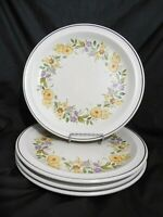 4 pcs NIKKO BUTTERCUP FLOWERS BROWN RING RIM CHINA STONEWARE DINNER PLATES 10.5""