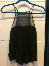 Urban Outfitters Kimchi Blue Black Lace and Mesh Top Medium