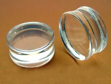 PAIR OF CLEAR 9/16 INCH 14mm DOUBLE FLARED PLUGS BODY JEWELRY plug