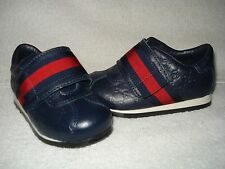 100% AUTHENTIC NEW GUCCI BOY/KID BLUE MICRO GUCCISSIMA SNEAKER SHOES US 4 MO
