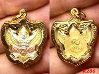Magic Krut Garuda Lp Seng Yantra Thai Amulet Buddha Gold Case Necklace Charm Old