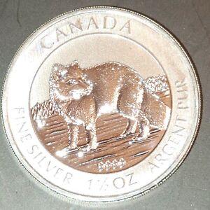 Silver 2014 $8 Canadian Arctic Fox 1.5 oz .9999 Gem Quality RCM Coin