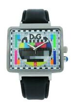 Dolce & GABBANA TIME DW0514 Para Hombre Analógico Reloj De Cuero Negro Estilo Retro TV