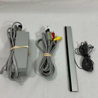 OEM Original Nintendo Wii Power Cord AV Cable Sensor Bar Lot Official Genuine