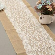 Natural Vintage Burlap White Lace Hessian Table Runner Wedding Tablecloth W