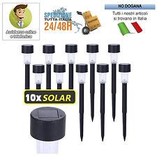 Set 10 Lampade Paletti solari a LED con pannello solare illuminazione sentieri