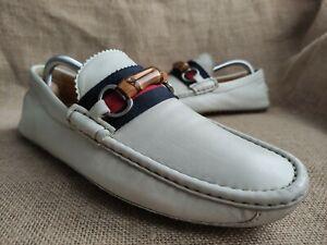 Gucci Bamboo Men's White Leather Horsebit Loafer Driver Sz US 9.5 || UK 8.5 G