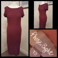 Phase Eight Burgundy Wine Textured Sheath Dress Size 12