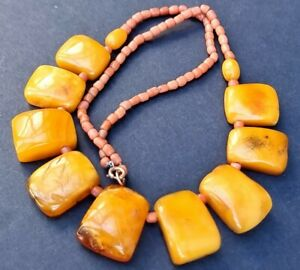 Butterscotch Egg Yolk Amber Antique Coral Fringe Panel Collar necklace Vintage