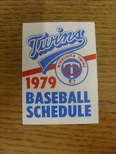1979 scheda di impianti: Baseball-Minnesota Twins (grano Cintura BIRRA-Pieghevole Stile)
