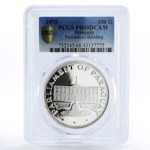 Paraguay 150 guaranies Parliament Building PR68 PCGS proof silver coin 1975