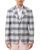 Tallia Orange Men's Slim-Fit Navy & Cream Plaid Linen Sport Coat (Blue, Size 44)