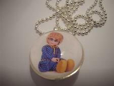 Vintage Retro 70s TV Show  Mrs Beasley Doll Silver Bubble Necklace / Pendant