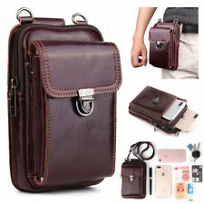 Genuine Cowhide Leather Vintage Men Belt Bag Mobile Phone Pouch For Motorola