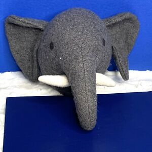 Pier 1 Imports Grey Cloth Elephant Head Safari Wall Hanging 12in x 10in