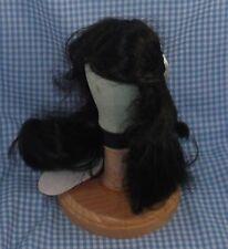 Vintage Global Doll Wig sz 9-10 dk. brown center part Long hair Tagged Carol