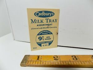 Cadbury's Chocolate WW2 Ration Controlled Price card c1940 Home Front World war
