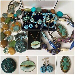 Job Lot Vintage Ceramic Jewellery inc Katie Johnston Pendant, Guernsey Pottery