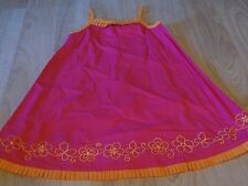 Girls Size 4 Jane Seymour Pink Orange Floral Embroidery Sundress Sun Dress EUC