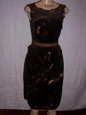 Dolce & Gabbana Brown Velvet Dress Tye Dye Sleeveless  Cut Out Back Size 2 NWT