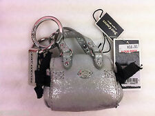 Juicy Couture Silver  Downtown Mini Handbag Purse Key Chain Fob Collectible