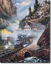 Eisenbahn Bergbahn USA Nostalgie Dampflok Metall Deko Schild