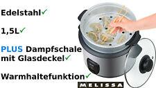 Reiskocher Dampfgarer Melissa Multikocher DIM SUM Kocher 1,5 Liter Suppenkocher