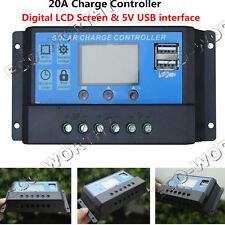 20A Micro PWM Solar Charge Controller 12V/24V LCD Display USB Solar Power Kit