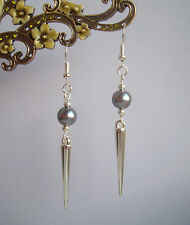 Grey Pearl Bead Silver Spike Long Dangly Drop Earrings