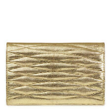 CHANEL METALLIC GOLD WAVE QUILTED LIZARD LEATHER VINTAGE TIMELESS CLUTCH  HB2055