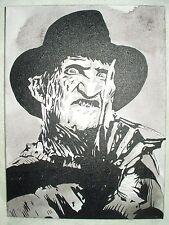 Canvas Painting Freddy Freddie Kruger Portrait B&W Art 16x12 inch Acrylic