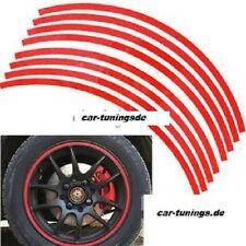Felgenrand Aufkleber 17-19 Zoll passend für Motorrad und Auto 8mm rot 16 Stück