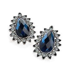 Antique Silver Coloured Tear Drop Stud Crystal Earrings Ladies Jewellery