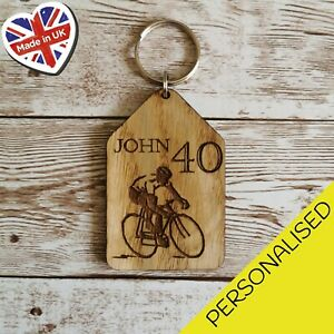 Personalised Biking Cycling Tag Engraved Any Name Age Wooden Keyrings Keychain