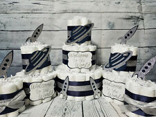 3 Tier Diaper Cake and sets - Outer Space Rockets Saturn Silver Navy Theme