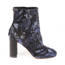 Valentino Ankle Boots Blue Butterfly Block Heel SZ 39