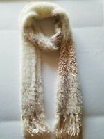INC International Concepts Fringed Knit Beige  Mixed Yarn Sequined Scarf $38