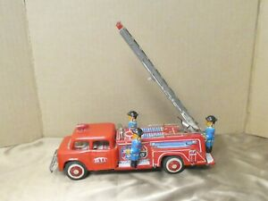 """Vintage STI Tin Litho Friction Toy Firetruck Made In China 10 1/2"""""""