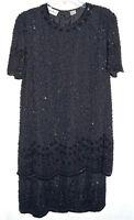 Laurence Kazar Black Sequins & Beads Silk Dress Size M