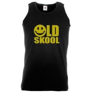 Unisex Black Old Skool Smiley Face Vest Retro Raver 90s 1990s