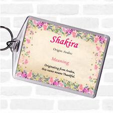 Shakira nom signifiant Sac Tag Keychain Porte-clés Floral