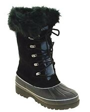 KHOMBU Ladies Waterproof WINTER BOOTS Suede Nordic 2 BLACK GREY | UK 4