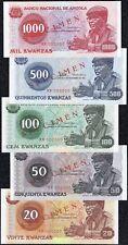ANGOLA 20, 50, 100, 500, 1000 KWANZAS 1976 UNC - SPECIMEN Full set